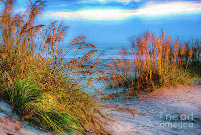 Painting - Swirling Wind Swaying Sea Oats Ap by Dan Carmichael