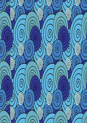 Digital Art - Swirls And Spirals Blue Pattern  by Irina Sztukowski