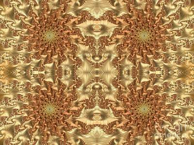 Digital Art - Swirls Of Gold Metallic Leaves Fractal Abstract by Rose Santuci-Sofranko