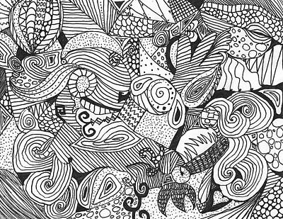 Swirly Drawing - Swirly Black And White Doodle by K L