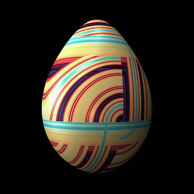 Egg Digital Art - Swirly Easter Egg by Hakon Soreide