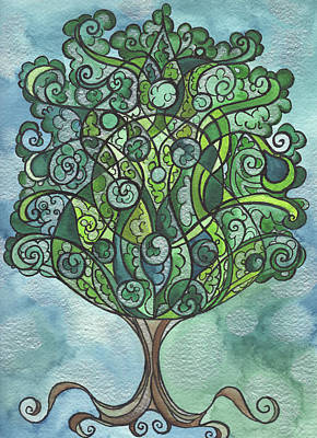 Swirly Tree Art Print by Michell Rosenthal