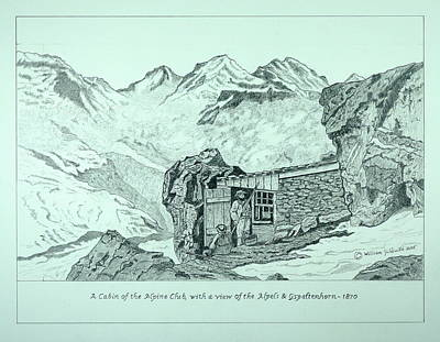 Drawing - Swiss Alpine Cabin by William Goldsmith