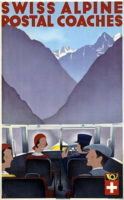 Royalty-Free and Rights-Managed Images - Swiss Alpine Postal Coaches - Switzerland - Retro travel Poster - Vintage Poster by Studio Grafiikka