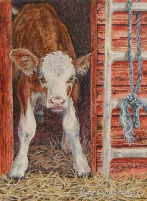 Painting - Swiss Calf, Got Milk? by Denise Horne-Kaplan
