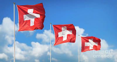 Photograph - Swiss Flags - Flags Of Switzerland by JR Photography