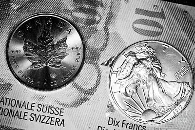 Swiss Franc Banknotes With 1oz Silver Bullion Coins Art Print