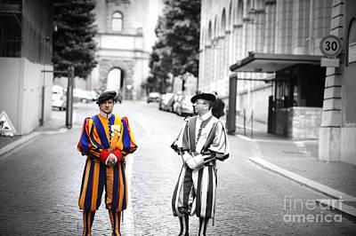 Swiss Guards At Vatican Frontier   Art Print