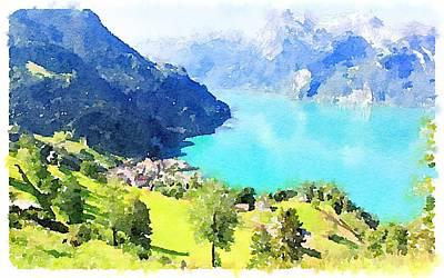 Switzerland Mixed Media - Swiss Lake by Marshall Harrison