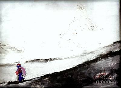 Painting - Swiss Matterhorn In Clouds 1 by Richard W Linford