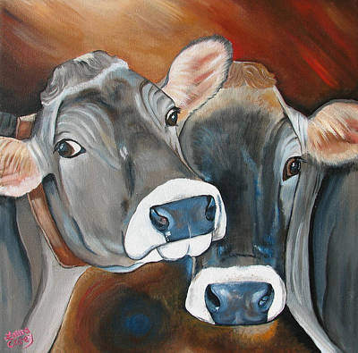 Brown Cow Painting - Swiss Misses by Laura Carey