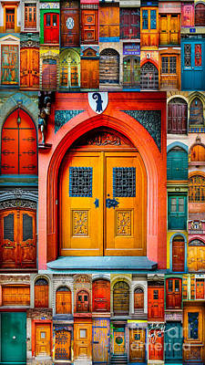Photograph - Swiss Orange Door Mosaic by TK Goforth