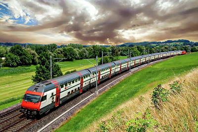 Photograph - Swiss Passenger Train by Anthony Dezenzio