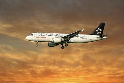 Swiss Star Alliance Livery Airbus A320-214 6 Art Print
