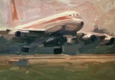 Briex Painting - Swissair Convair Cv-990 Landing by Nop Briex