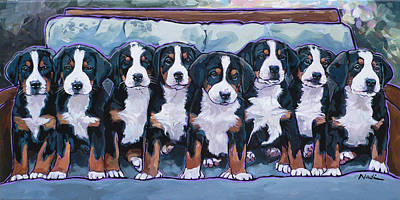 Swissie Pups Art Print