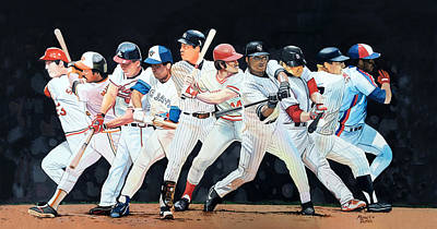 Lance Berkman Painting - Switch Hitting Collage  by Michael  Pattison