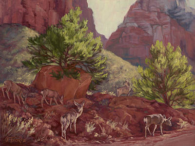 Painting - Switchback Stop For Wildlife by Jane Thorpe
