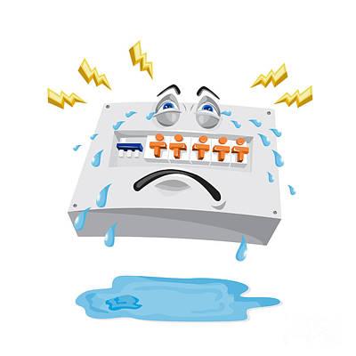 Component Digital Art - Switchboard Crying Tears Cartoon by Aloysius Patrimonio