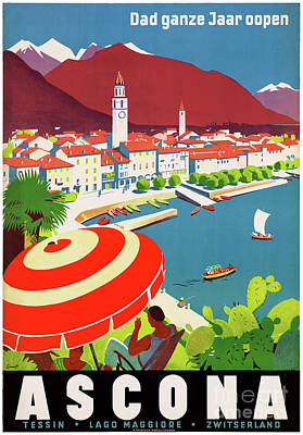 Switzerland Mixed Media - Switzerland Ascona Vintage Travel Poster Restored by Carsten Reisinger