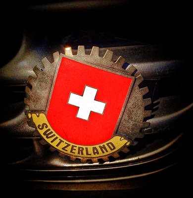 Photograph - Switzerland Flag Car Emblem by Bill Owen