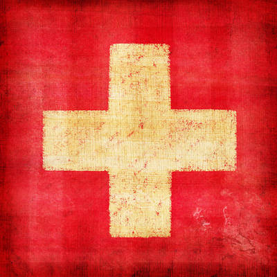 Concrete Photograph - Switzerland Flag by Setsiri Silapasuwanchai
