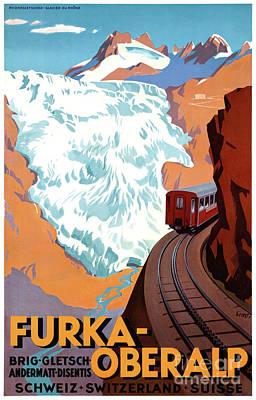 Switzerland Mixed Media - Switzerland Furka Oberalp Vintage Poster Restored by Carsten Reisinger