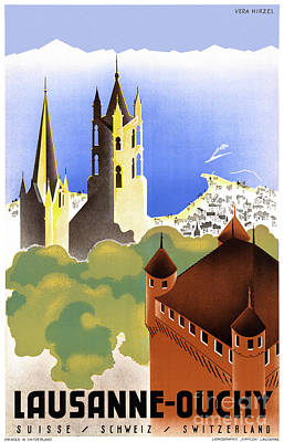 Mixed Media - Switzerland Lausanne Ouchy Vintage Travel Poster by Carsten Reisinger