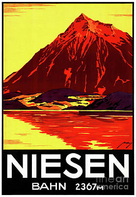 Mixed Media - Switzerland Niesen Vintage Travel Poster Restored by Carsten Reisinger
