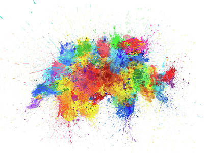 Switzerland Digital Art - Switzerland Paint Splashes Map by Michael Tompsett
