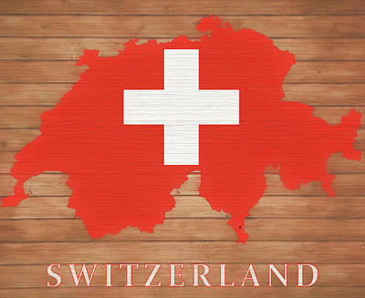 Mixed Media - Switzerland Rustic Map On Wood by Dan Sproul