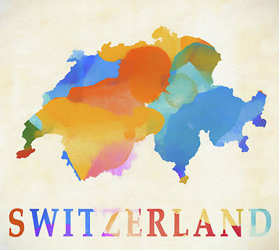 Painting - Switzerland Watercolor Map by Dan Sproul