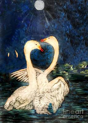 Painting - Swooning Swans by Anne Sands