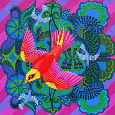 Multi Colored Painting - Swooping Bird by Jane Tattersfield