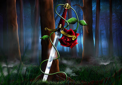 Mistery Digital Art - Sword And Rose by Alessandro Della Pietra