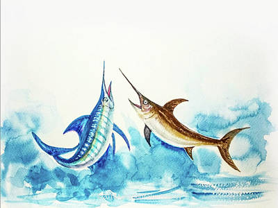 Painting - Swordfish And Marlin Pair  by Asha Sudhaker Shenoy