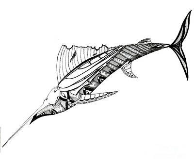 Swordfish Drawing - Swords by Michael Miller