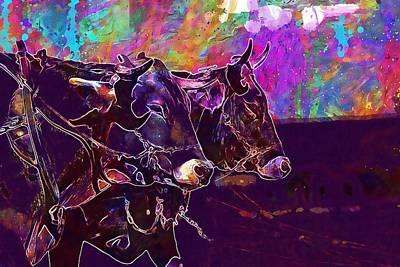 Digital Art - Swot Up Cattle Farm Nature  by PixBreak Art