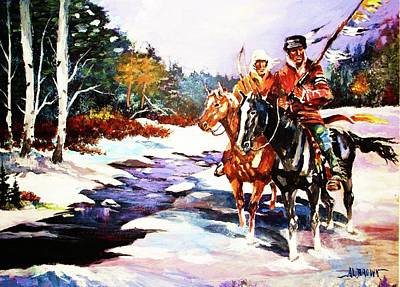 Painting - Snowbound Hunters by Al Brown