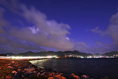 Sint Maarten Wall Art - Photograph - Sxm Saint Martin Bridge Lit Up At Night Light Trails by Toby McGuire