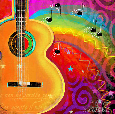 Note Card Painting - Sxsw Musical Guitar Fantasy Painting Print by Svetlana Novikova