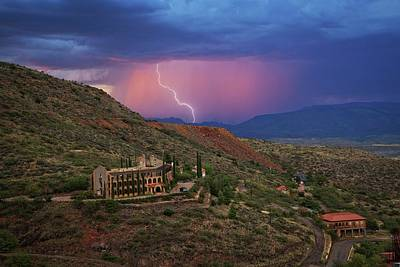 Art Print featuring the photograph Sycamore Canyon Lightning With Little Daisy by Ron Chilston
