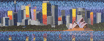 Sydney Skyline Painting - Sydney At Sunrise by Jemma Ryan