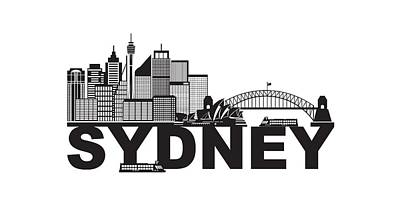 Photograph - Sydney Australia Sklyine Text Outline Black And White Illustration by Jit Lim