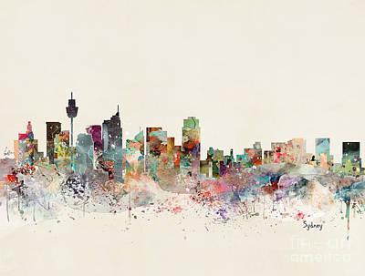 Sydney Skyline Painting - Sydney Australia Skyline by Bleu Bri