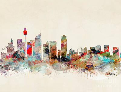 Sydney Painting - Sydney Australia Skyline by Bleu Bri