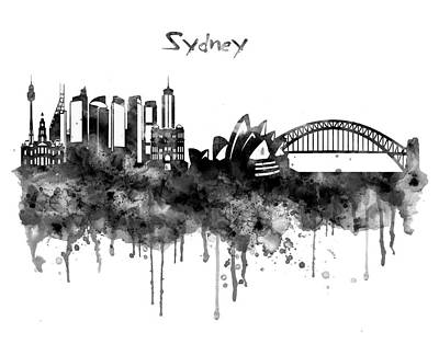Scale Digital Art - Sydney Black And White Watercolor Skyline by Marian Voicu