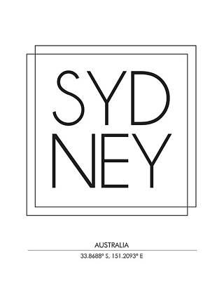 Sydney City Print With Coordinates Art Print