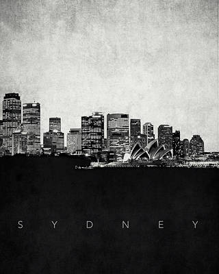 Sydney Skyline Digital Art - Sydney City Skyline With Opera House by World Art Prints And Designs