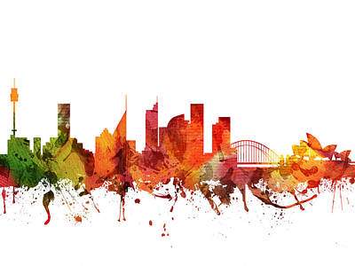 Sydney Skyline Digital Art - Sydney Cityscape 04 by Aged Pixel